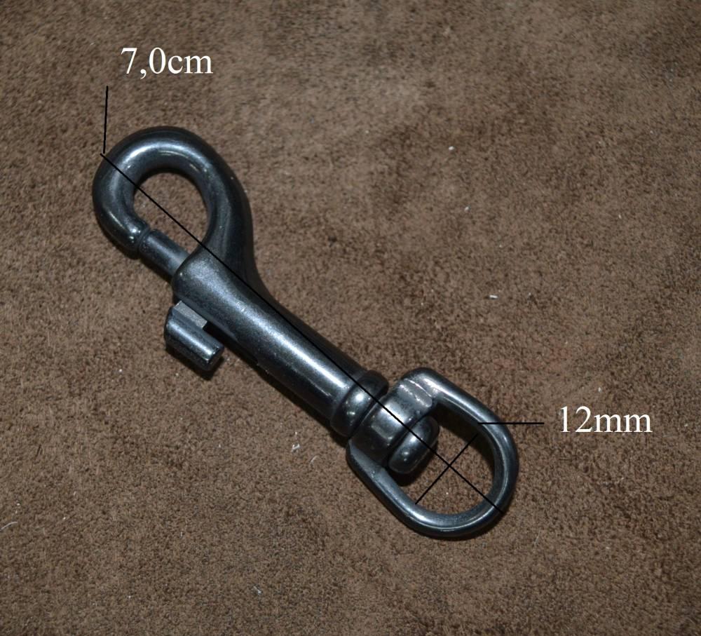 Moschettone Acciaio Inox Annerito Piccolo • diametro interno anello 12 mm • altezza 7.0 cm,