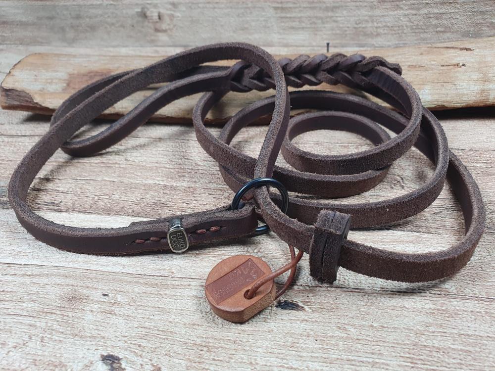 Guinzaglio-collare combinato in cuoio morbido per cani cucito a mano eurodog