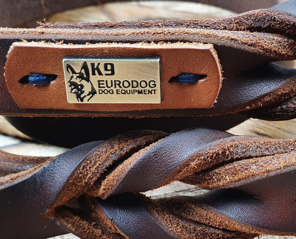 Guinzaglio in cuoio con doppia maniglia intrecciato e cucito a mano da Eurodog in Italia
