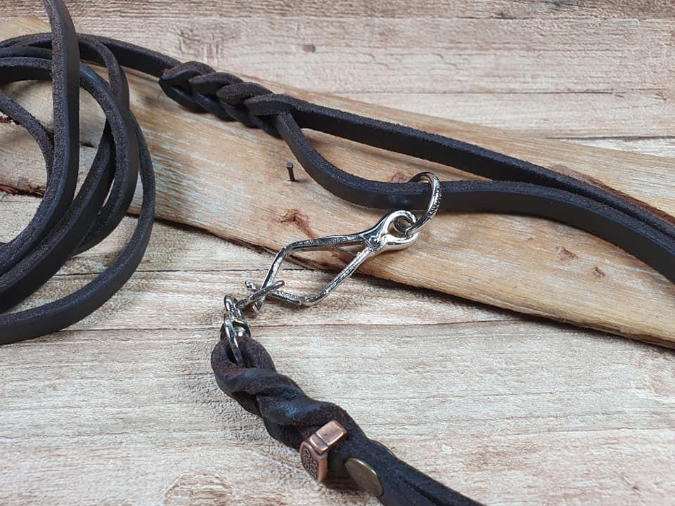 Guinzaglio da caccia con collare incorporato 2 in 1 intrecciato a mano eurodog