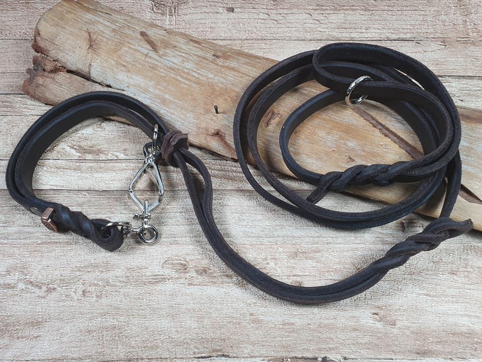 Guinzaglio da caccia con collare incorporato 2 in 1 produzione artigianale eurodog