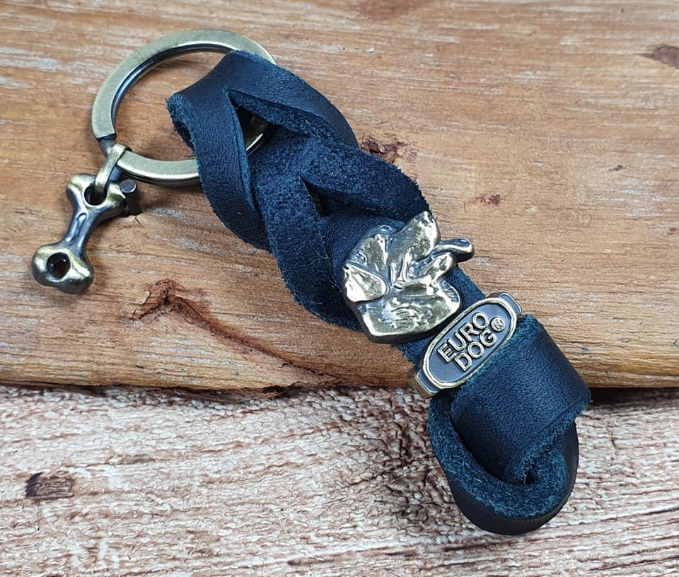 Portachiavi con Decoro Rottweiler in vera Pelle o cuoio fatto a mano da Eurodog